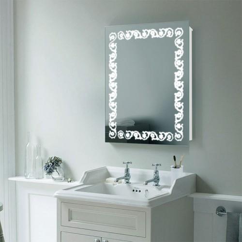 "Зеркало в ванную комнату с LED подсветкой ""Незабудка"""